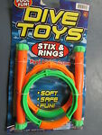 New Jaru Stix & Rings Swimming Pool Diving Game 4 Pieces Fun and Safe Ages 4+
