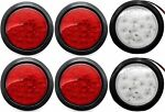 4quot; Inch 12 LED Round Stop Turn Tail Truck Light w. GrommetPlug: 4 Red 2 White