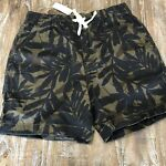 J Crew Mens Small Swimming Suit Black Tan Palm NWT
