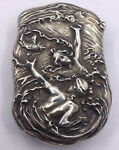 W.B. KERR MATCHSAFE STERLING 2 WOMAN 2 FISH SWIMMING HEAVY REPOUSSE S308
