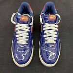 Used 2005 Nike Air Force 1 Europe Hoops Patent Navy Blue Red White 306353 462