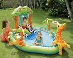 Intex Jungle Inflatable Swimming Pool Play Center Slide Sprayer Kid 7FT X6X4