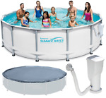 Summer Waves Elite Metal Frame Set Above Ground Swimming Pool+Filter Pump+Cover