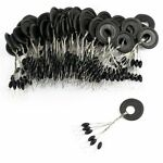 Float Black Rubber Stopper 60 Pcs 10 Groups/Set Fishing Bobber Stopper Float Ova