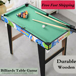 32quot; Wood Small Pool Table Family Kid Game Snooker Indoor Mini Billiards Toys Set
