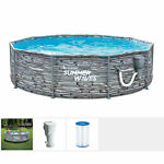 Summer Waves Active 12 Ft Stone Print Metal Frame Above Ground Pool Set Used