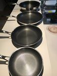 Hexclas 4 Piece Pans With Signs Of Used Scratches 8' 10' 12w and12#x27; No Lids