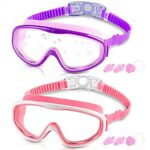 COOLOO Kids Goggles for Swimming for Age 3 15 2 Pack Kids Swim Goggles with ...