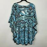 Swim by Cacique 18 20 cover up blue black patterned dolman