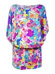 Anne Cole Women#x27;s Smocked Floral Print Doodle Dress Swim Cover Up