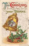 1911 Winsch Christmas PC of Snow Scene Pictured on Bell Above Basket of Holly