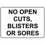 Horizontal Metal Sign Multiple Sizes No Open Cuts Blisters Or Sores Swimming