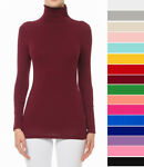 S M L Women#x27;s Basic Scrunch Turtleneck Top Stretch Knit Cotton Solid Long Sleeve
