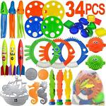 Diving Pool Toys 34 PCS Pool Toys for Teens amp; Adults Underwater Swimming Games