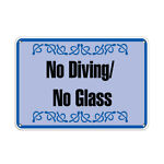 Horizontal Metal Sign Multiple Sizes No Diving Glass Activity Pool Swimming