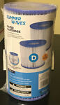 Summer Waves Type D Swimming Pool Pump Filter Cartridge - Pack of 2. NEW.