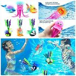 GRUSEMI Light up Swimming Pool Toys for Kids 6 Pack Summer Diving Toy Animals