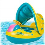 Baby Pool Float with Canopy Inflatable Swimming Floats for Kids