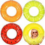 Inflatable 4 Pack Swimming Floats. Swimming Pool Rings for Summer Beach Style A