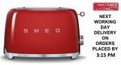 Smeg Tsf01rduk Red 2 Slice Toaster Extra Wide Bagel Retro 50 S 2 Year Guarantee