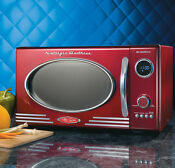 Nostalgia Electrics Retro Series 0 9 Cubic Foot Microwave Oven Red Rmo400red