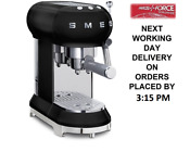 Smeg Ecf01bluk Black Espresso Coffee Machine 2 Year Warranty Brand New
