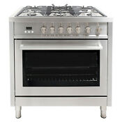 36 3 8 Cu Ft Gas Range Convection Oven 5 Burners Heavy Duty Stainless Steel