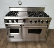 Viking 48 Range Stove Vgic485 6gss Gas 6 Burners Griddle In Stainless Steel