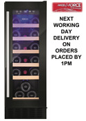 Amica Awc300bl 30cm 19 Bottle Free Standing Undercounter Wine Cooler In Black