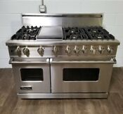 Viking 48 Range Stove Vgsc548 6gss Gas 6 Burners Griddle In Stainless Steel