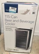 Insignia 115 Can Beverage Cooler Ns Bc120bs8 Black Stainless Steel 3 2 Cu Ft
