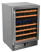Smith Hanks 46 Bottle Dual Zone Under Counter Wine Refrigerator 24 Inch W