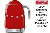 Smeg Klf04rduk Red Retro 50 S Style Kettle With Variable Temperature 1 7l New