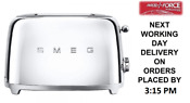 Smeg Tsf01ssuk Chrome 50s Retro Style 2 Slice Toaster 2 Year Guarantee New