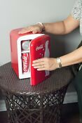 Coca Cola Personal 6 Can Portable Mini Fridge With Warming Red New Sale