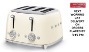 Smeg Tsf03cruk Cream 4 Slot 4 Slice Toaster Retro 50s 2 Year Guarantee New
