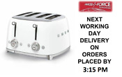 Smeg Tsf03whuk White 4 Slot 4 Slice Toaster Retro 50s 2 Year Guarantee New