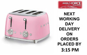 Smeg Tsf03pkuk Pink 4 Slot 4 Slice Toaster Retro 50s 2 Year Guarantee New