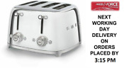 Smeg Tsf03ssuk Chrome 4 Slot 4 Slice Toaster Retro 50s 2 Year Guarantee New