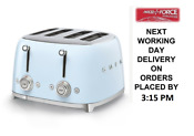 Smeg Tsf03pbuk Pastel Blue 4 Slot 4 Slice Toaster Retro 50s 2 Year Guarantee