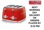 Smeg Tsf03rduk Red 4 Slot 4 Slice Toaster Retro 50s 2 Year Guarantee New