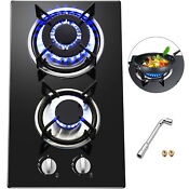 12 2 Burners Tempered Glass Gas Cooktop Gas Hob Built In Stove Iron Grates