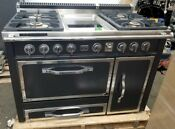 Viking Tuscany 48 Dual Fuel Range Graphite Black 4 Gas Burners And Griddle