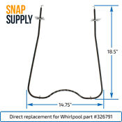 Snap Supply Bake Element For Whirlpool Directly Replaces 326791