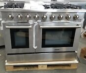 New Out Box Of Model Thor Kitchen 48 Stainless Range 6 Burner Griddle 2 Ovens