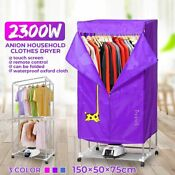 Electric Cloth Dryer With Wheel Automatic Portable Drying Warm Laundry 2300w