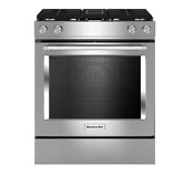 Kitchenaid 30 Inch 4 Burner Dual Fuel Downdraft Slide In Range Ksdg950ess