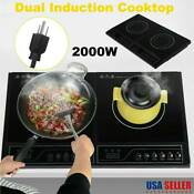 Electric Dual Induction Cooker Portable Cooktop Burner 2000w Temperature Control