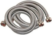 Eastman 6 Feet Steel Flex Washing Machine Connector Hoses 2 Pack Hot Cold
