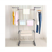 Bigzzia Clothes Drying Rack 3 Tier Collapsible Rolling Stainless Laundry With